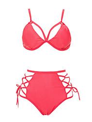 Bikinis Aux femmes Couleur Pleine Bandeau Coton