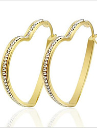 Women's Hoop Earrings Love Fashion Luxury Personalized Titanium Steel Imitation Diamond Circle Round Heart Jewelry For Party Daily Casual