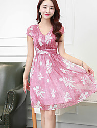 Women's Simple Floral Chiffon Dress,V Neck Knee-length Polyester