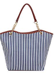 Women-Casual-Canvas-Shoulder Bag-Blue / Red