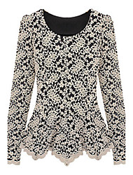 ZAY Women's Elegant Lace Hook Flower Long Sleeve Slim T-shirt