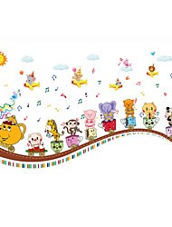 Wall Stickers Wall Decals, Cute Cartoon Animal Glass Music PVC Wall Sticker