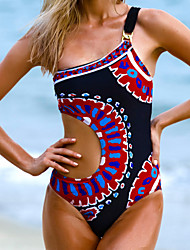 Women's Straped One-pieces Swimwear , Floral Wireless Nylon / Polyester Multi-color