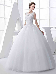 Ball Gown Wedding Dress Floor-length Jewel Tulle with Appliques / Beading
