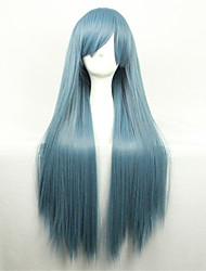 Europe And The United StatesThe New Color Wig 80 CM Wide Navy Blue Long Straight Hair Wig