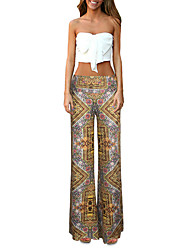 Women's Patchwork Yellow Wide Leg Pants,Vintage / Casual / Day
