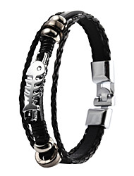 High Quality PU Leather Super Shining Zinc Alloy Fish Bone Skeleton Men's Multi-layer Bracelet