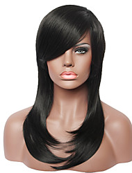 Capless Black Straight Fashion Real Human Hair Women  Wig for Ladies