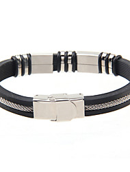 Cool Man  Leather Bracelets  silicon Stainless Steel  Charm Design Bangles for Men