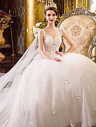 A-line Wedding Dress Floor-length Straps Tulle with Appliques / Beading
