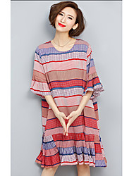 Women's Casual/Daily Cute A Line Dress,Striped Round Neck Knee-length ½ Length Sleeve Red Polyester Summer