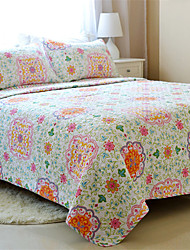 "3PC Quilt Sets Full Cotton Euro Floral Pattern 90""W*98""L"