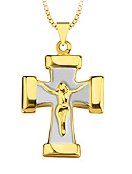 New Vintage Style Women/Men Gift 18K Gold Plated Fashion Jewelry Double color Cross Pendant p30083