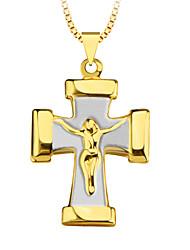 novas mulheres do estilo do vintage / homens 18k ouro presente banhado moda jóias dupla cruz cor p30083 pendant