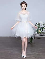 Cocktail Party Dress Ball Gown Scoop Knee-length Lace / Tulle with Cascading Ruffles