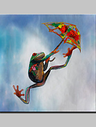 Lager Hand Painted Modern Abstract Parachute Frogs Animal Oil Painting On Canvas Wall Art Picture Whit Frame