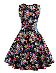 Womens Fashion Elegant Printed Vintage Style Swing Rockabilly Party Dress
