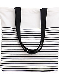 Fashion Striped Canvas Shoulder Bag Handbag Woman Shoulder Bag Shopping Travel Leisure Package