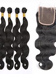 Trama do cabelo com Encerramento Cabelo Brasileiro Onda de Corpo tece cabelo