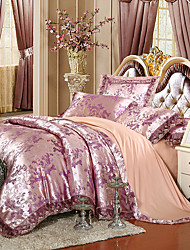 2016 new  Queen King Size Bedding Set Luxury Silk Cotton Blend Lace Duvet Cover Sets Jacquard Pattern