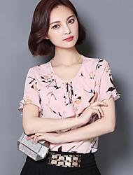 Mulheres Blusa Casual Plus Sizes / Moda de Rua Verão,Estampado Azul / Rosa Poliéster Decote Redondo Manga Curta Média