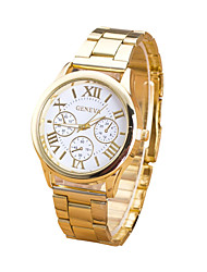 Women/Men's Stainless Steel Gold Band Analog White Case  Wrist Watch Jewelry Fashion Watch