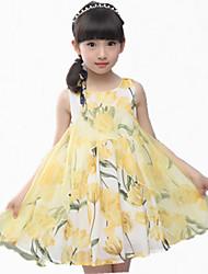 Menina de Vestido,Festa/Coquetel Estampado Poliéster Verão Rosa / Amarelo