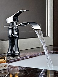 Bathroom Waterfall Widespread Basin Sink Faucet Chrome Polish Single Handle Single Hole Mixer Tap Deck Mount