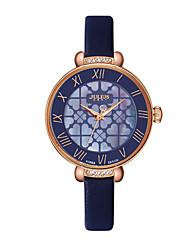 Women's Fashion Watch Quartz Leather Band Flower Elegant Black Blue Brown Brand JULIUS