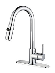 Contemporary Standard Spout Vessel Widespread / Pullout Spray / Rotatable with  Ceramic Valve Single Handle One Hole for  Nickel Brushed,