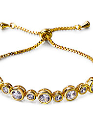 Anniversary gift Platinum 18K Gold plated Circle shape Cubic Zirconia Bezel Setting Brass Bracelet for women