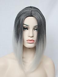 Short Straight Black Gradient Grey Heat Resistant Fiber Full Wig for Women
