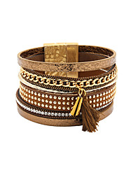 Fashion Women 6 Rows Crystal And Metal Ball Set Magnet Leather bracelt