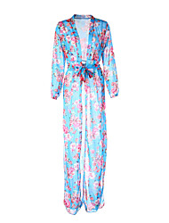 Women's Beach Swing Dress,Floral Deep V Maxi Long Sleeve Blue Summer