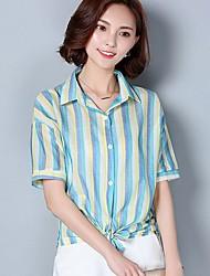 Mulheres Camisa Colarinho Chinês Manga Curta Listrado Algodão / Poliéster Mulheres