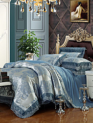 Silver Blue Queen King Size Bedding Set Luxury Silk Cotton Blend Lace Duvet Cover Sets Jacquard Pattern