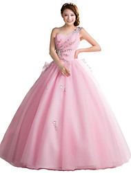 Formal Evening Dress-Blushing Pink Ball Gown One Shoulder Floor-length Organza / Stretch Satin