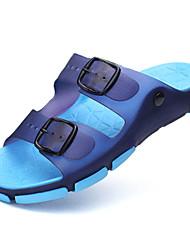 Femme-Décontracté-Bleu / Marron-Talon Plat-Confort / Plastique-Sandales-Silicone