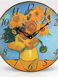 Fashion Solid Wood European Style Oil Painting Art Clock