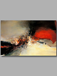 "Stretched (Ready to hang) Hand-Painted Oil Painting 36""x24"" Canvas Wall Art Modern Abstract Red Beige Black"