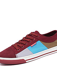 Summer Autumn Men's Mix-colored Canvas Skataboarding Shoes for Casual Style Lace-up Man's Flats for Sports