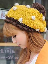 Women Fall And Winter Warm Wool Polka Dot Fashion Cake Shape Knit Hat