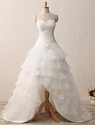 A-line Wedding Dress Court Train Sweetheart Organza with Appliques