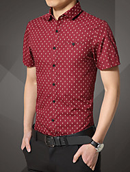 Men's Short Sleeve Shirt,Cotton Casual / Work / Formal / Sport Print