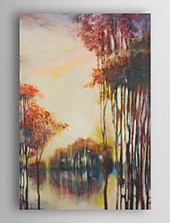 handgemaltes Ölgemälde Landschaft die untergehende Sonne und Wald mit gestreckten Rahmen 7 Wand ARTS®