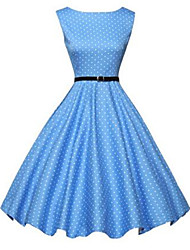 Women's Going out Simple A Line Dress,Polka Dot Round Neck Above Knee Sleeveless Blue Nylon Fall
