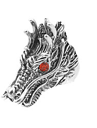 Toonykelly® Vintage Antique Silver Alloy Punk Dragon Crystal Men Rocky Biker Motor Gothic Ring (1pc)