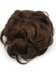 Kinky вьющиеся каштановые волосы Хепберн человек монолитным парики шиньоны 2/30