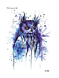 HD Large Taty Halloween Easter Blue Owl Water Transfer Body Art Temporary Tattoo Stickers Flash Big Tatoos tatouage