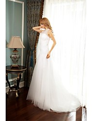 A-line Wedding Dress Court Train Jewel Tulle with Beading